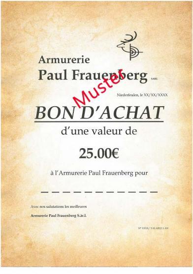 Armurerie Paul Frauenberg  Gutschein 25.00 Euro
